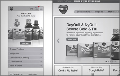 A responsive website for Vicks.com. Built off the Brand.com template, it posed a challenge to design within this limited platform. Strict templates and guidelines were implemented to allow for future scalability while maintaining clear usability. Direct input with Brand.com's designers helped optimize overall usability while aiding in the planning of its phased development.